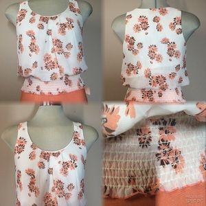 Papaya, white floral Summer blouse size S
